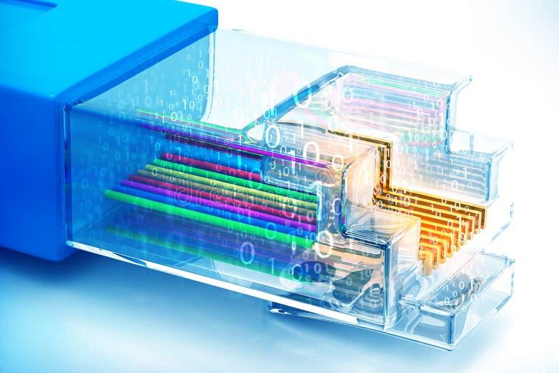 与光纤的网络缆绳 向量例证