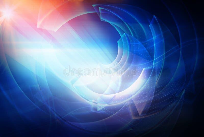与光线和太阳火光概念系列的数字抽象技术背景 向量例证