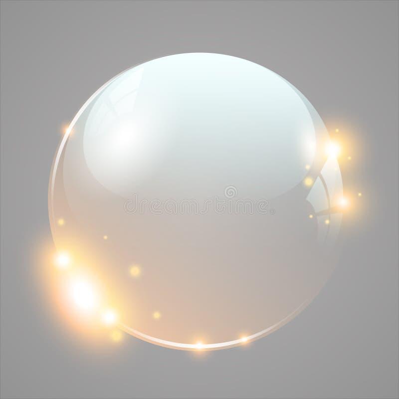与光线影响的发光的玻璃球 库存例证