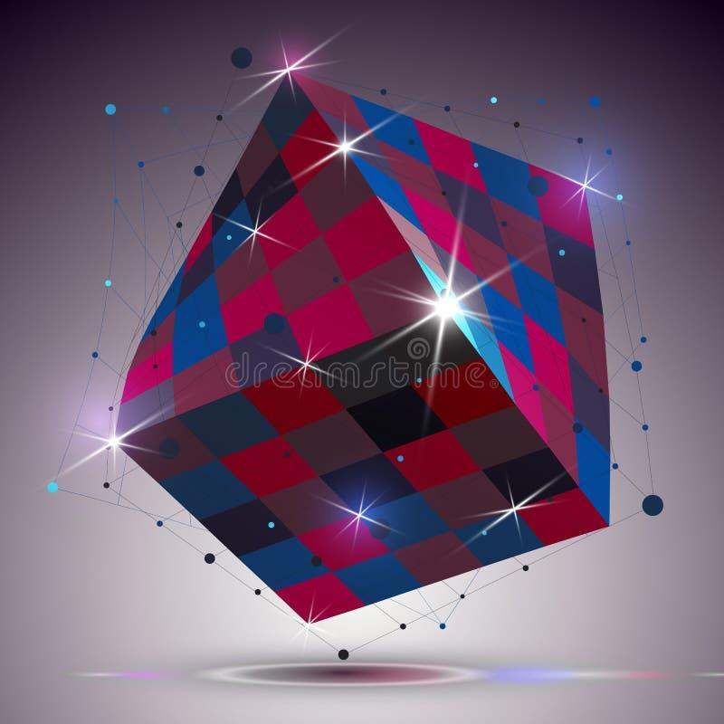 与光线影响的尺寸扭转的发光的立方体 3d五颜六色的d 皇族释放例证