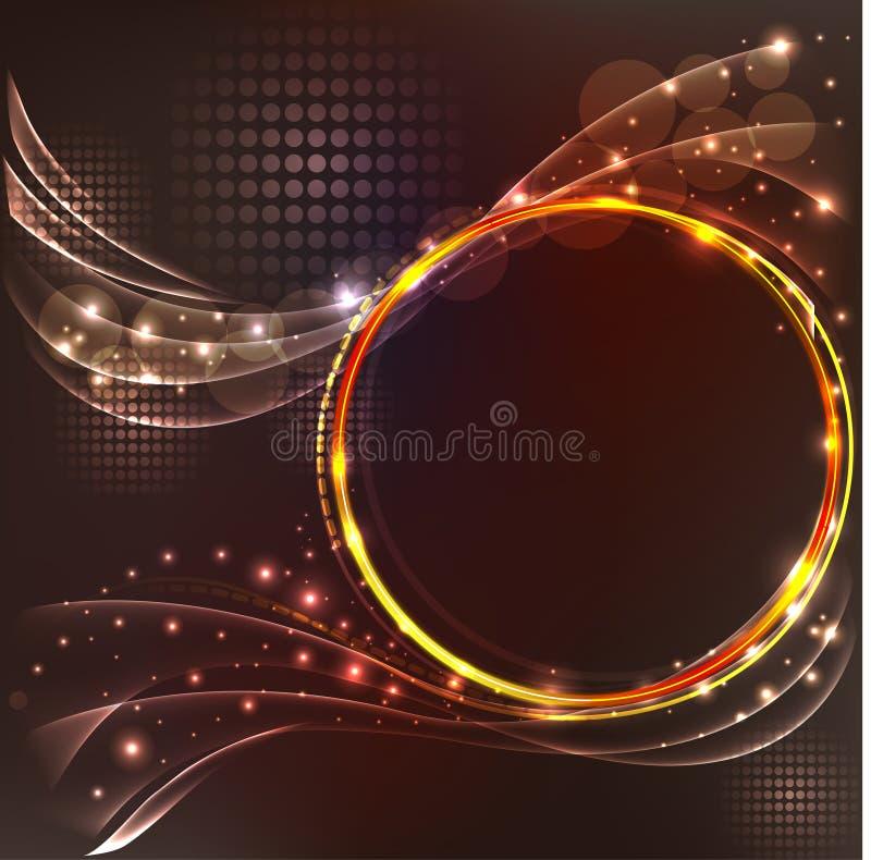 与光线影响的抽象棕色背景 库存例证