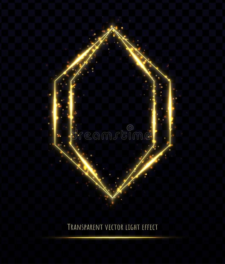 与光线影响的金多角形框架被隔绝的对透明背景 皇族释放例证