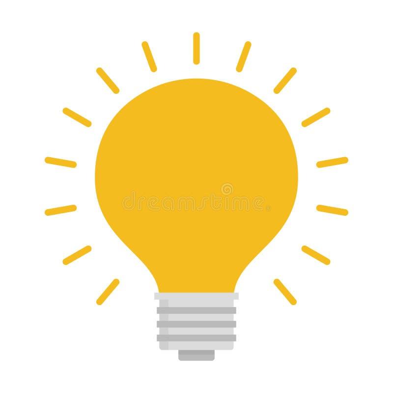 与光芒亮光的电灯泡 能量和想法标志 向量例证