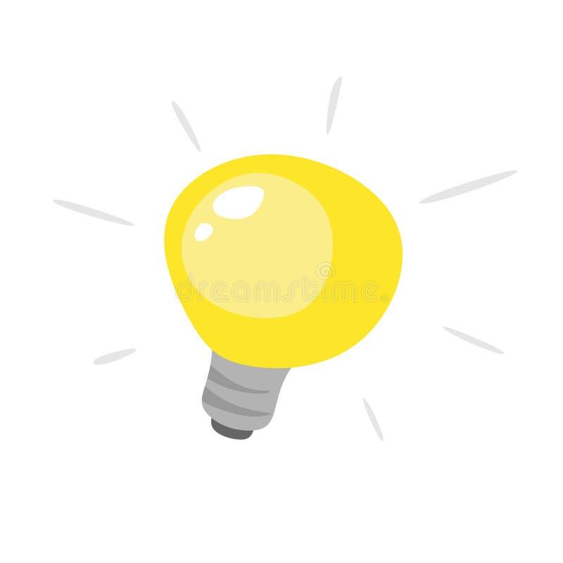 与光芒亮光的黄灯电灯泡平的象 在白色背景隔绝的能量和想法标志 库存例证
