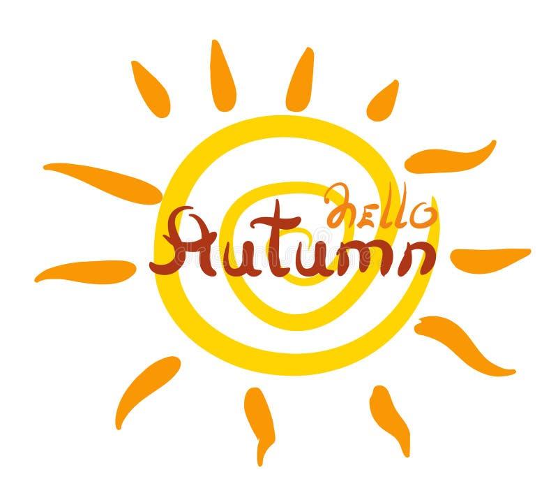 与光芒和字法秋天的风格化太阳 库存例证