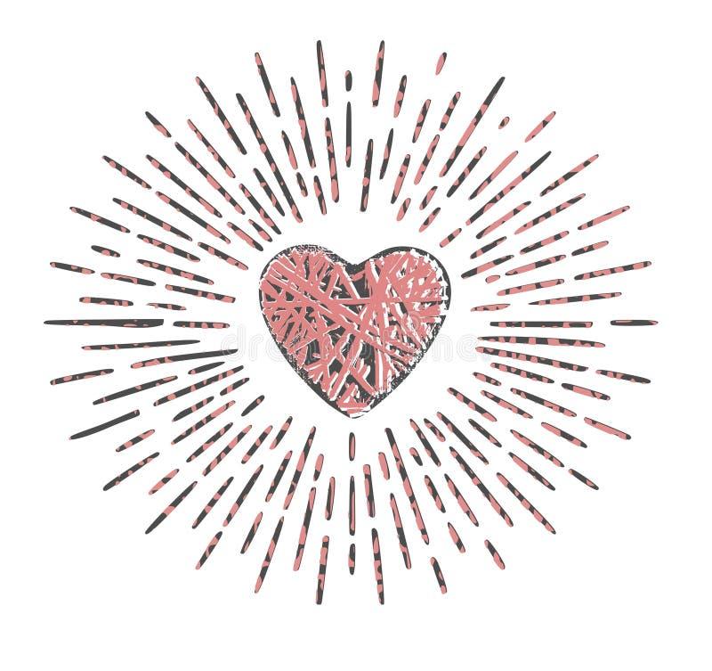 与光芒和织法纹理的难看的东西心脏 库存例证