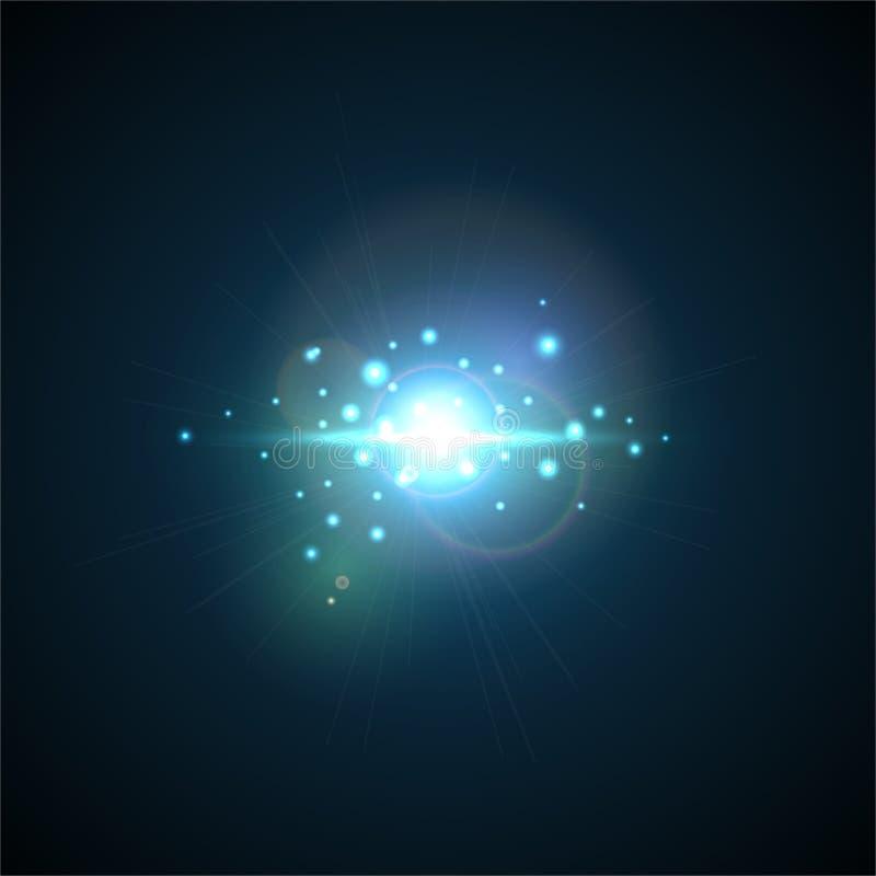 与光芒和聚光灯的蓝色闪光 现实轻的强光,高不愿意,星焕发 透镜对黑背景的火光作用 皇族释放例证