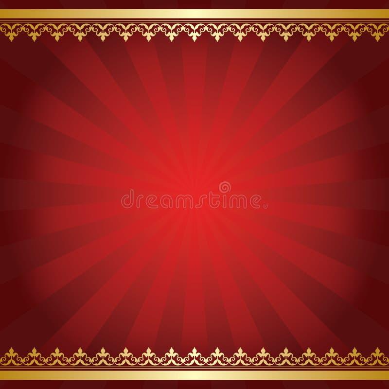 与光芒和金黄装饰品的明亮的红色背景 向量例证