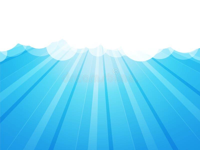 与光芒的云彩 向量例证