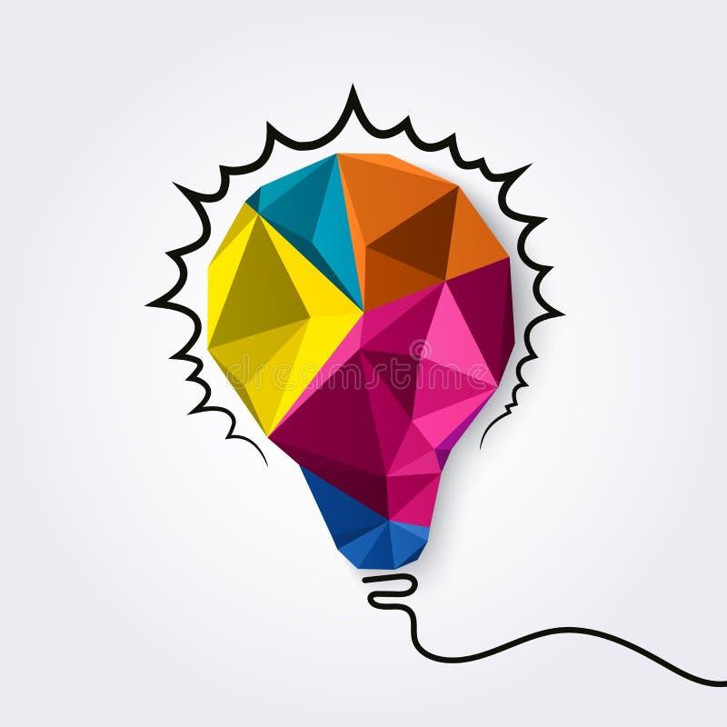 与光芒的多角形电灯泡发光作为创造性的想法概念 向量 库存例证