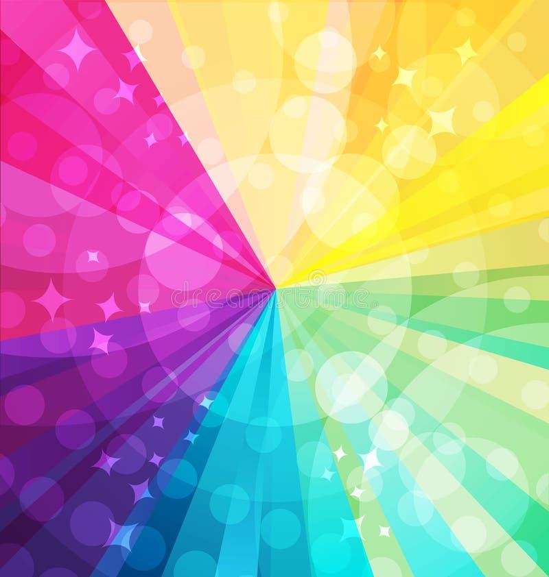 与光芒的彩虹明亮的背景 皇族释放例证