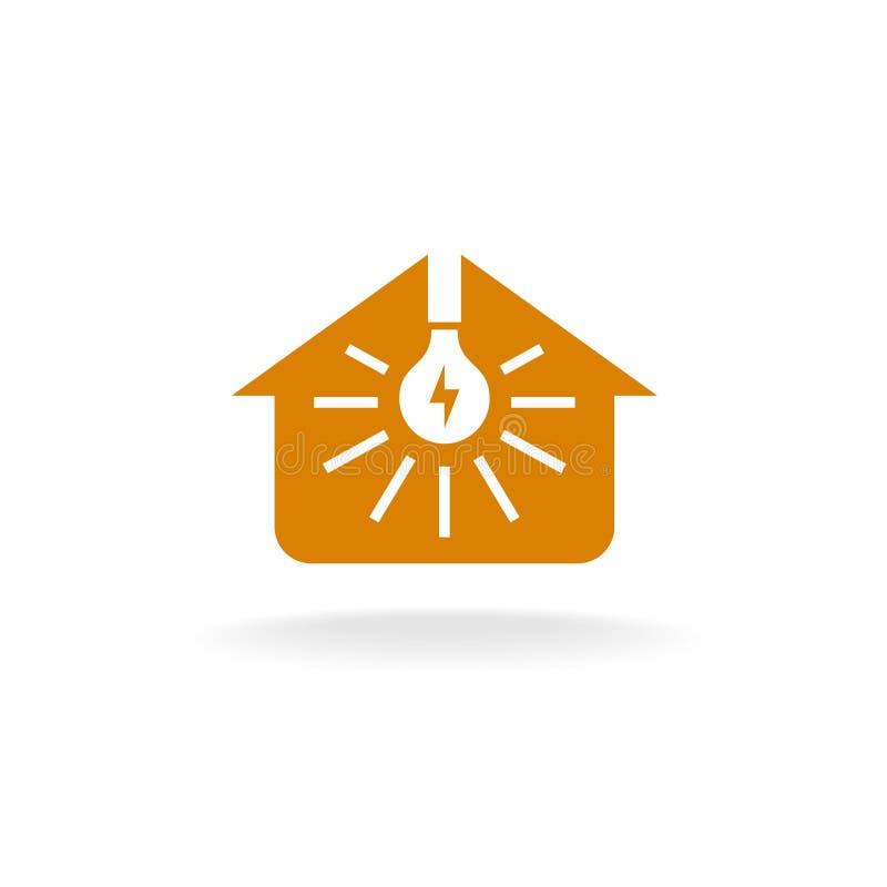 与光芒的电灯泡在房子剪影商标里面 向量例证