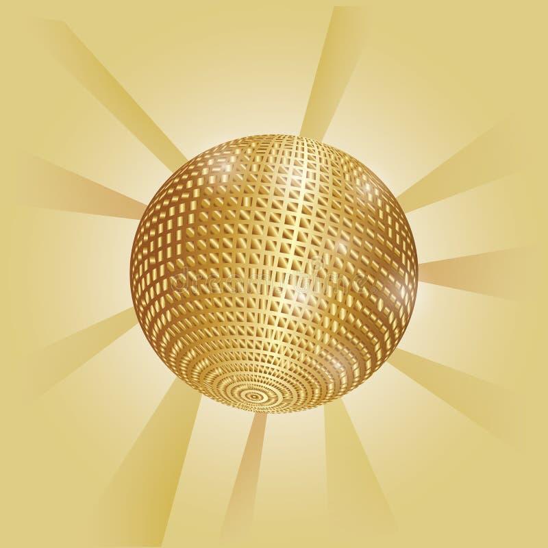 与光芒的金黄发光的迪斯科球 库存例证