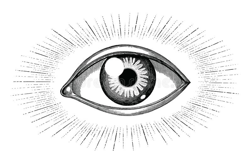 与光芒纹身花刺手凹道在白色背景隔绝的葡萄酒板刻的肉眼 库存例证