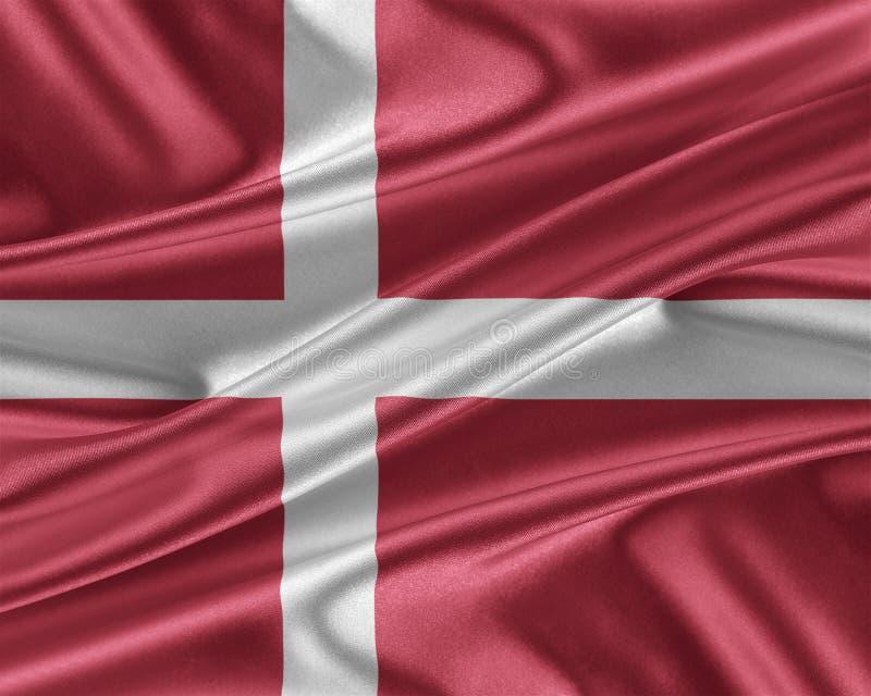 与光滑的丝绸纹理的丹麦旗子 向量例证