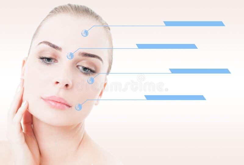 与光滑的皮肤的女性在她的面孔的画象和显示 图库摄影