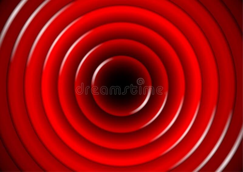 与光滑的红色圈子的抽象背景 向量例证