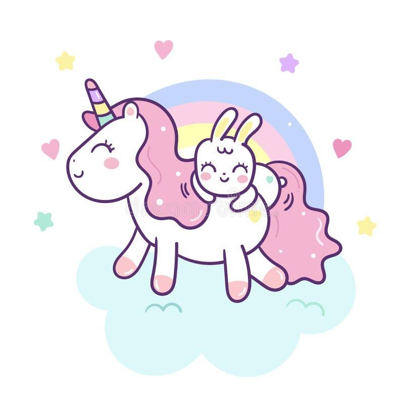 与兔子动画片的逗人喜爱的独角兽传染媒介小马可能和彩虹,Kawaii字符 皇族释放例证