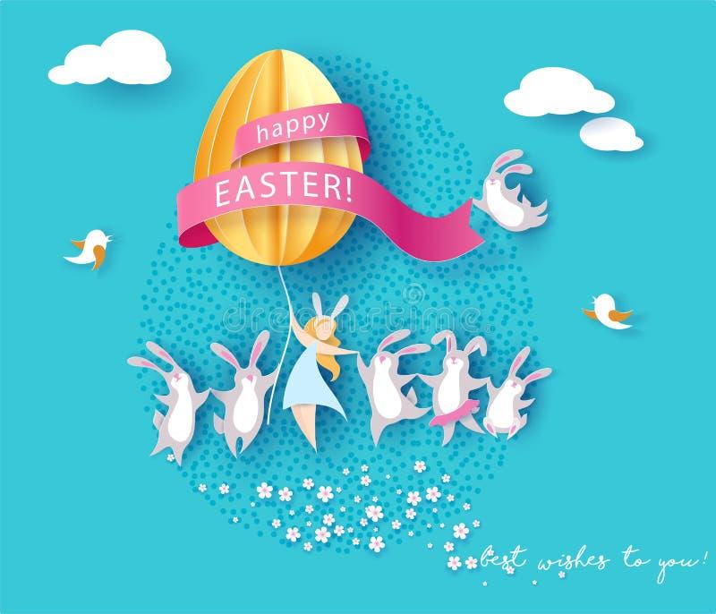 与兔宝宝、女孩和鸡蛋的愉快的复活节卡片 皇族释放例证