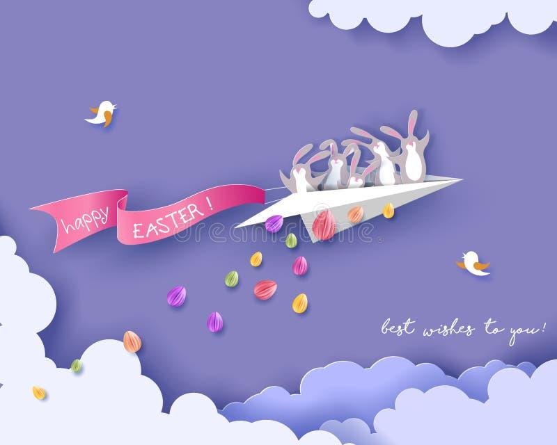 与兔宝宝、花和鸡蛋的愉快的复活节卡片 库存例证