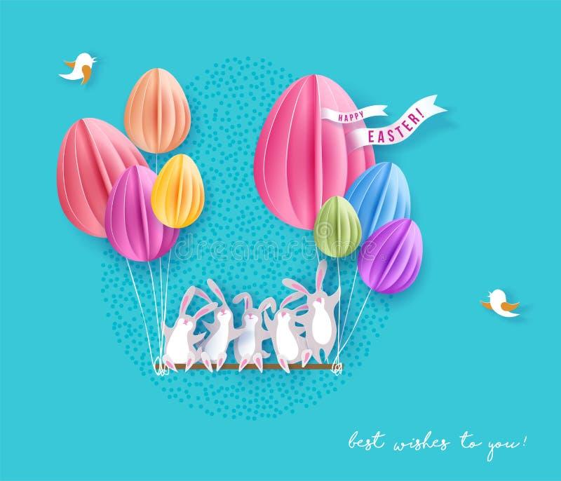 与兔宝宝、花和鸡蛋的愉快的复活节卡片 向量例证