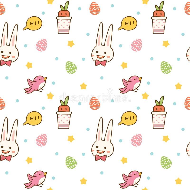 与兔宝宝、蛋狩猎、鸟和红萝卜的Kawaii春天无缝的样式 向量例证