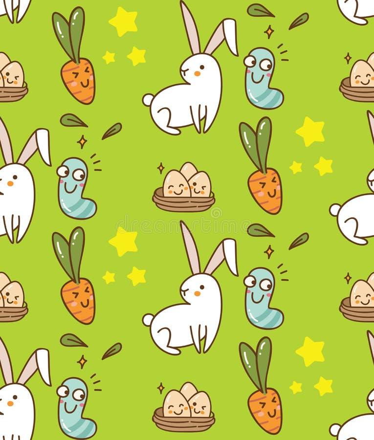 与兔宝宝、鸡蛋和红萝卜的复活节无缝的背景 向量例证