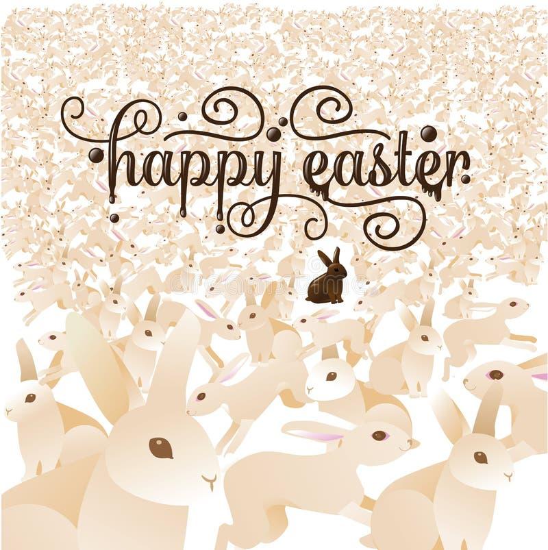 与兔宝宝人群的复活节快乐  皇族释放例证
