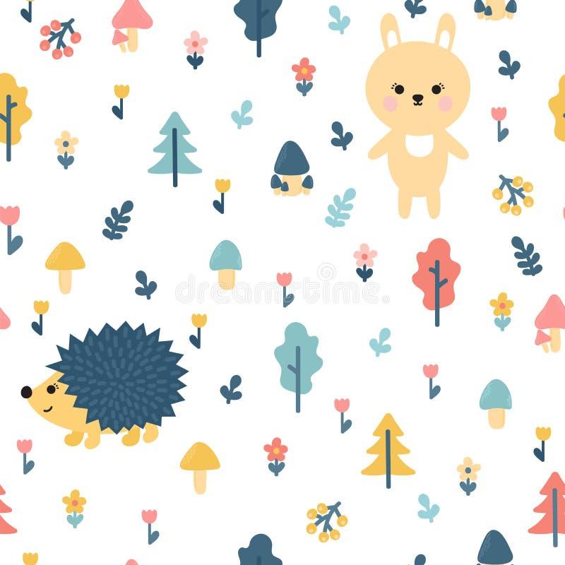 与兔宝宝和猬的手拉的无缝的样式 饮料例证纸张减速火箭主题向量包裹 您的设计的时髦的乱画森林背景 向量例证
