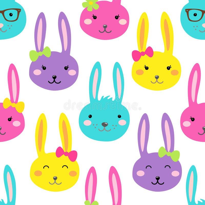 与兔宝宝滑稽的漫画人物的逗人喜爱的明亮的复活节无缝的样式设计  向量例证