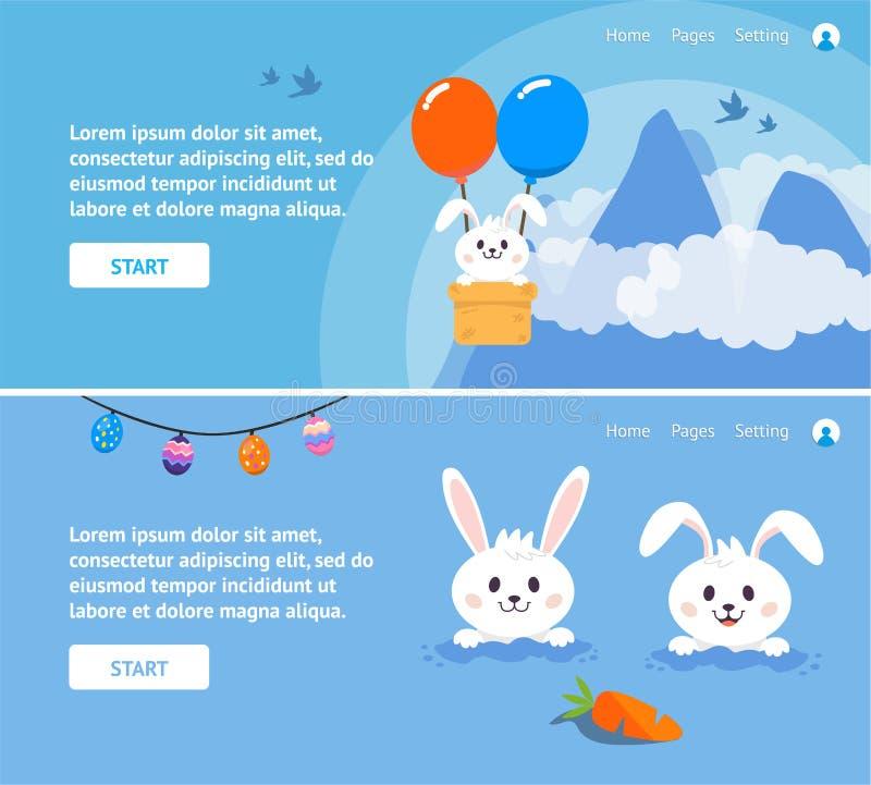 与兔宝宝的复活节天网站横幅或介绍背景的 向量例证