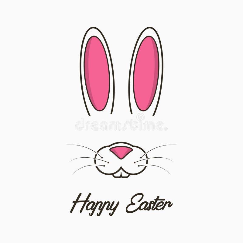 与兔宝宝的愉快的复活节贺卡 庆祝横幅、海报与复活节兔子面孔和耳朵 向量 皇族释放例证