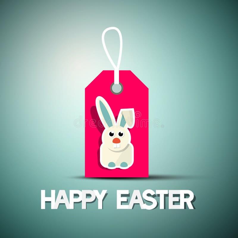 与兔宝宝的愉快的复活节减速火箭的卡片 向量例证