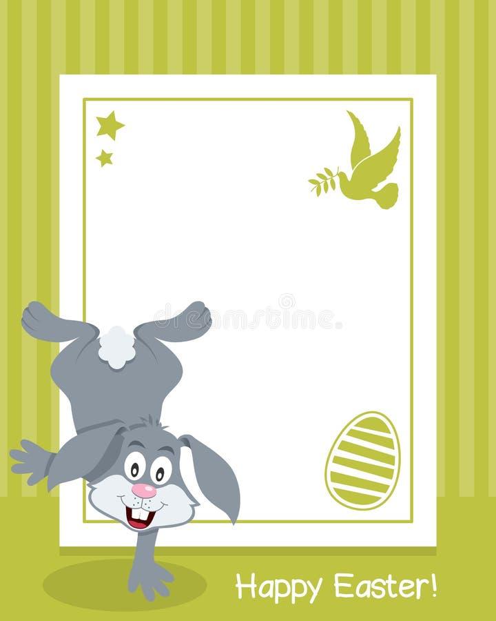 与兔宝宝的愉快的复活节垂直的框架 库存例证