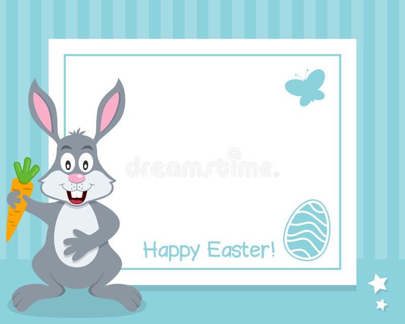 与兔宝宝的愉快的复活节水平的框架 向量例证
