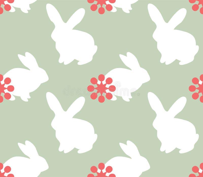 与兔宝宝的逗人喜爱的无缝的样式 皇族释放例证