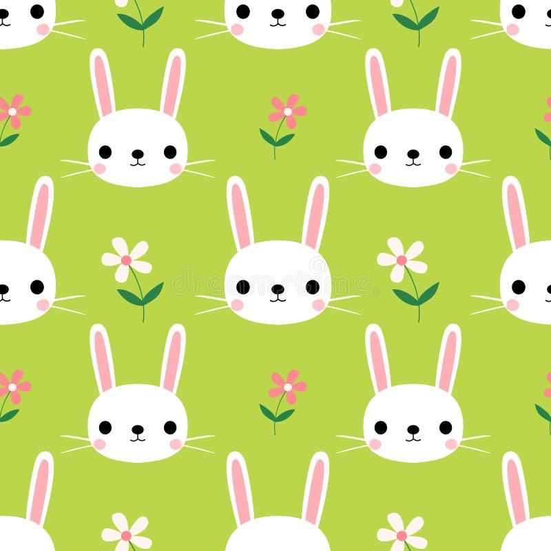 与兔宝宝的逗人喜爱的无缝的样式 库存例证