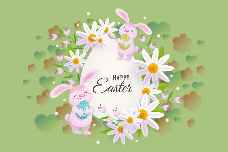 与兔宝宝,花的愉快的复活节贺卡 皇族释放例证