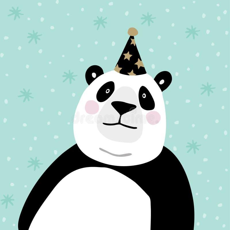 与党帽子的逗人喜爱的大熊猫熊 孩子海报或生日贺卡 背景花新例证离开牛奶向量 库存例证