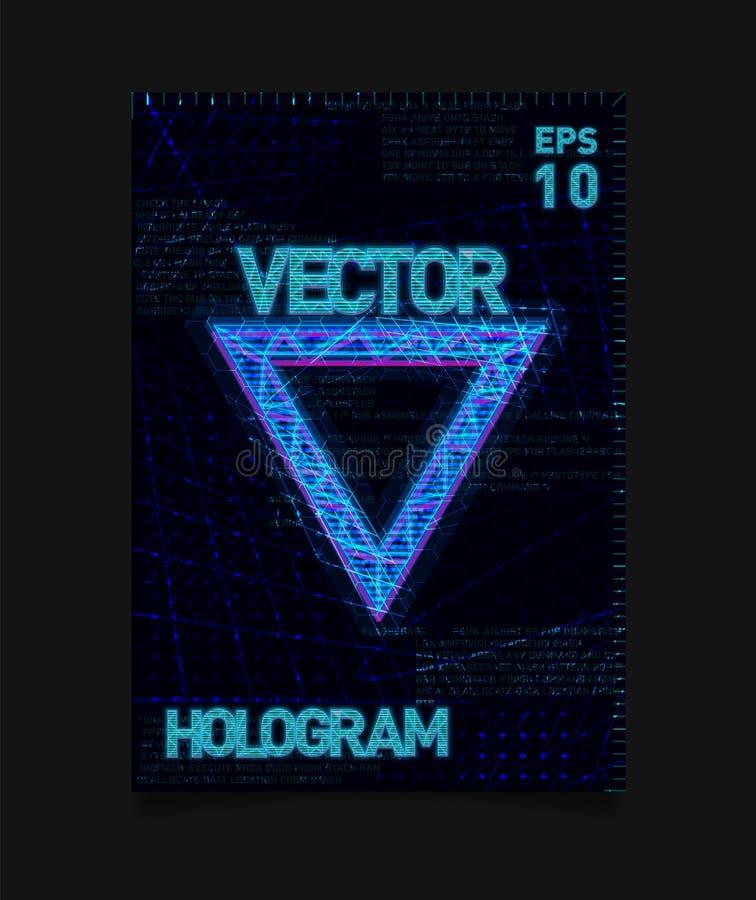 与全息图作用和未来派纹理的未来派全息图HUD蓝色三角在背景 海报的设计 皇族释放例证