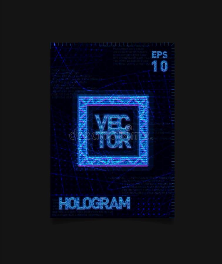 与全息图作用和未来派纹理的未来派全息图HUD蓝色正方形在背景 海报的,飞行物设计 向量例证
