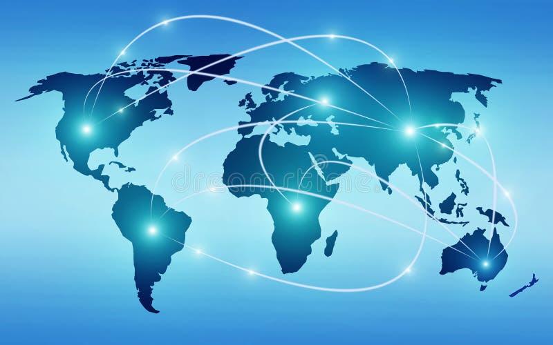 与全球性技术或社会连接网络的世界地图 向量例证
