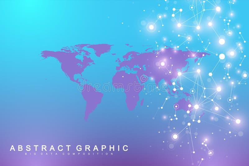 与全球性技术网络概念的政治世界地图 数字资料形象化 科学计算机控制学 库存例证