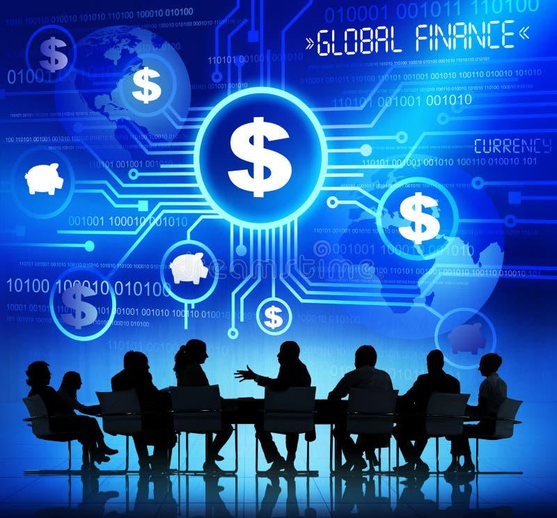 与全球性财政概念的业务会议 免版税库存照片