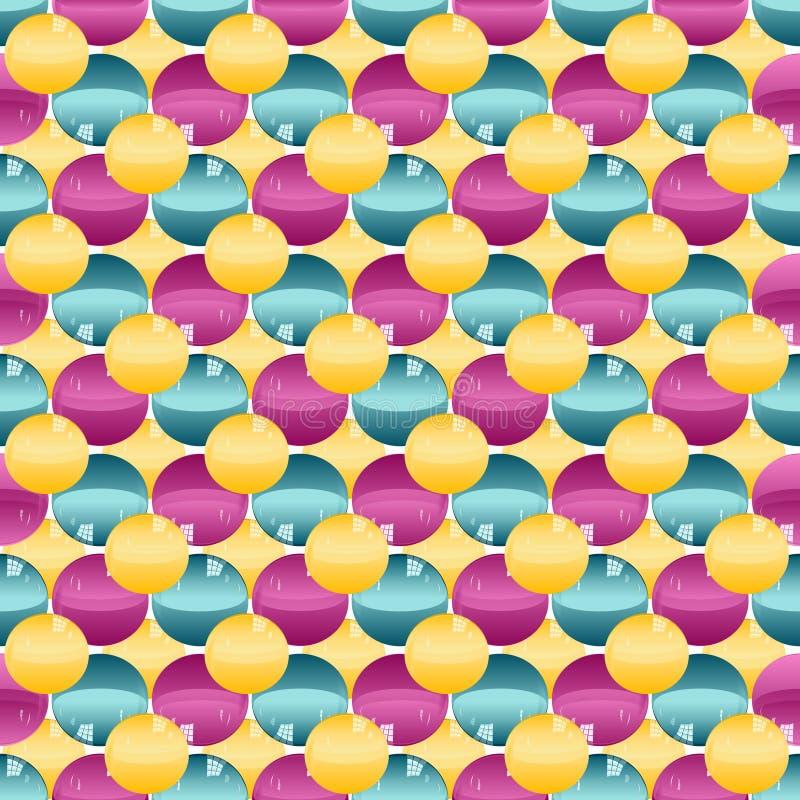 与全部的五颜六色的样式gumballs混合了颜色 库存例证