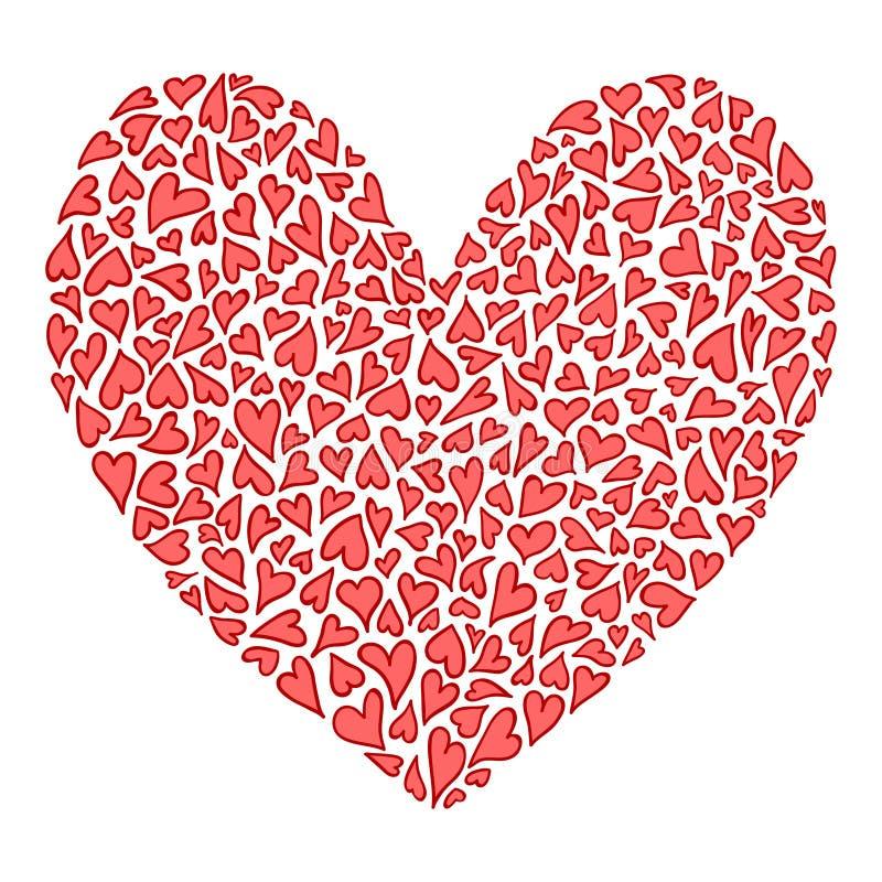 与全部的大装饰心脏华伦泰心脏 向量例证