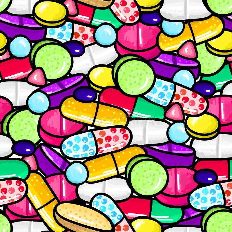 与全部的无缝的样式药片和胶囊 医学或膳食补充剂 健康生活方式 皇族释放例证