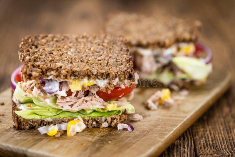 与全麦面包选择聚焦的新鲜的做的金枪鱼三明治 免版税库存图片
