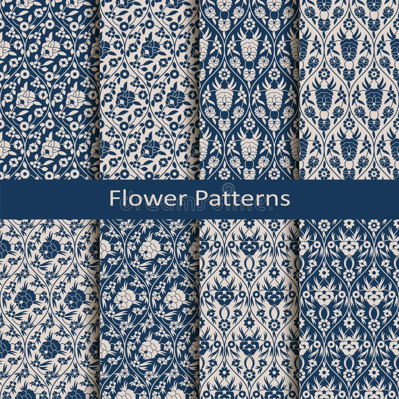 与八个无缝的传染媒介蔓藤花纹花卉样式的集合与葡萄酒打印 为纺织品设计,包装,时尚,盖子 库存例证