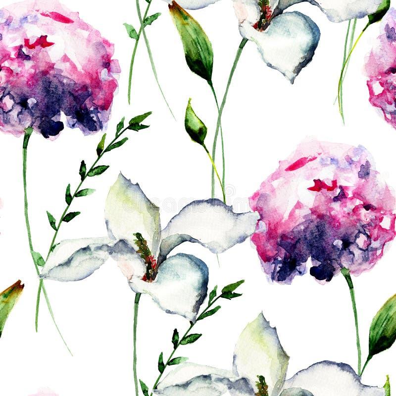 与八仙花属的无缝的样式与百合花 向量例证